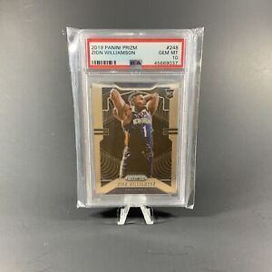 2019-PANINI-PRIZM-248-ZION-WILLIAMSON-RC-Rookie-PSA10-GEM-MINT-PELICANS-HOT