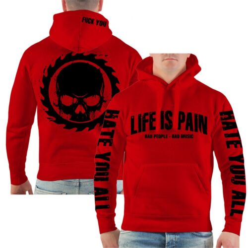 Con cappuccio Pullover Life is pain BLACK Bad Music people hate FUCK hardcore hoodie
