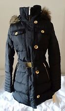 New With Tag MICHAEL KORS M821249L  Faux Fur Trim Women Coat Hooded Black L