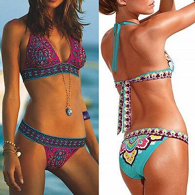 Floral Sexy Womens Crystal Top Padded Swimwear Beachwear Bikini Swimsuit UK