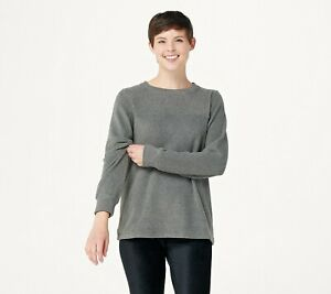 Cuddl-Duds-Fleecewear-Stretch-Crew-Neck-Pullover-Top-Charcoal-Heather-XL-A381759