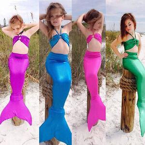 3PCS-Girl-Kids-Mermaid-Tail-Swimmable-Bikini-Set-Bathing-Suit-Fancy-Costume-3-8Y