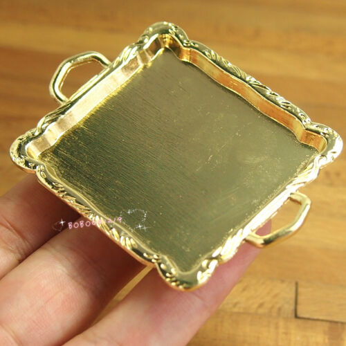 Dollhouse Miniature Toy Kitchen Metal Golden Pattern Tray Length 6.7cm SPO314