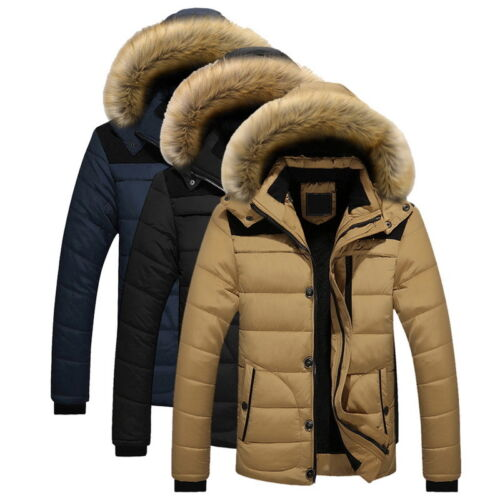 Mens Cotton Padded Jacket Short Hooded Fur Collar Coat Winter Outwear Thicken 50