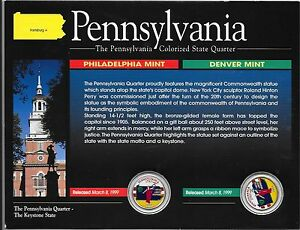 1999-P-amp-D-Pennsylvania-Colorized-State-Quarters-in-Display-Card-No-COA