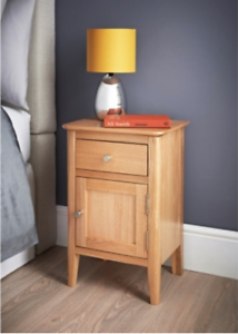 Details About Solid Oak Bedside Cabinet Chunky 1 Drawer Small Side Table
