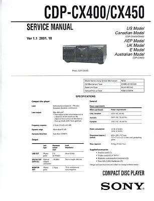 SONY CDP-CX400 CD Player Service Manual On cd CDP-CX450, CDP-CX455,  CDP-CX691 | eBay