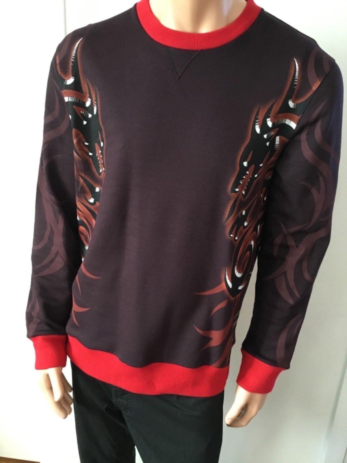 New Lanvin männer's schweißhemd Burgundy with Dragon Print, klein Fits like groß