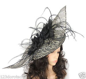 Image Is Loading Large Black Cream Fascinator For Ascot Weddings Proms