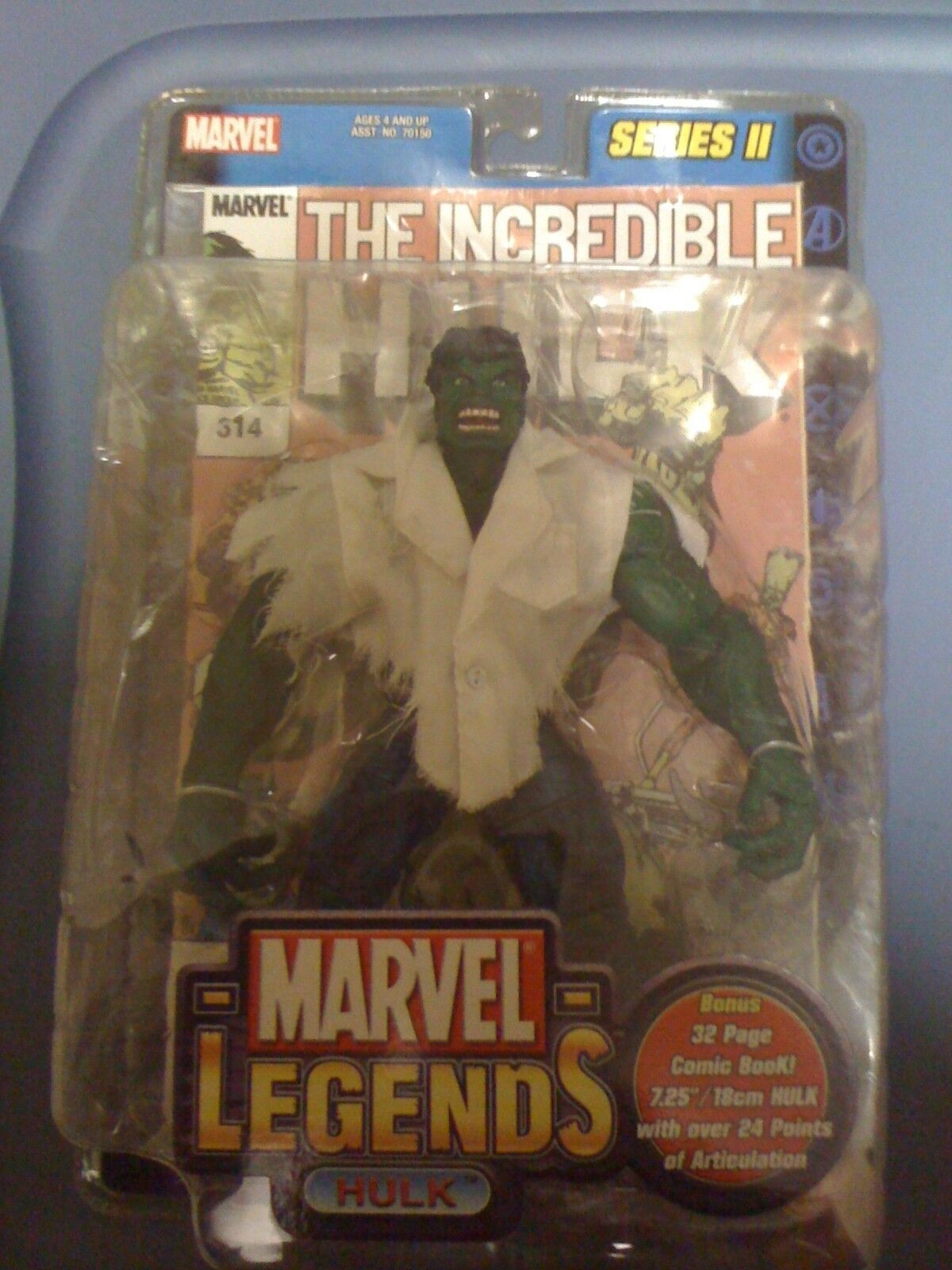 Marvel Legends Series II Hulk Figure lab coat NEW FREE SHIP US
