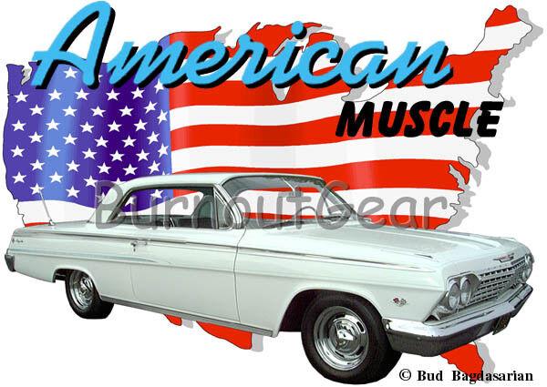 1962 Weiß Chevy Impala b Custom Hot Rod USA T-Shirt 62 Muscle Car Tees