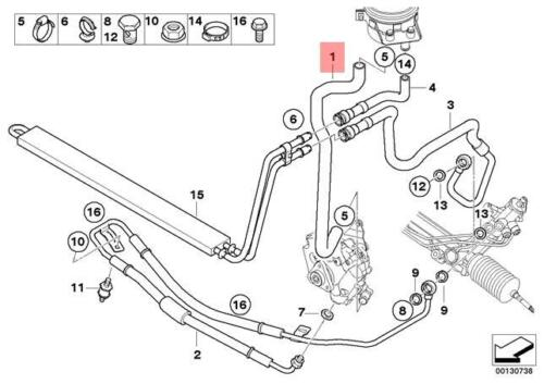 Genuine BMW E53 SUV Reservoir Pump Power Steering Hose OEM 32416763977