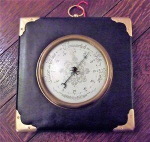 Groß Warnen Barometer Deutsch Leder Messingecken Uhr