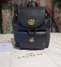 NWT COACH F37581 Mini Turnlock RUKSACK Backpack In Pebble Leather NAVY MSRP $295