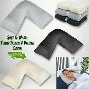 Teddy-Fleece-V-Shaped-Pillow-Case-Maternity-Orthopedic-Neck-Support-Cover-Only