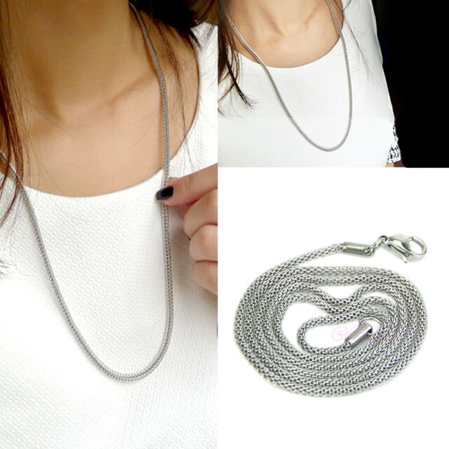 Fashion 2mm Unisex Snake Chain Stainless Steel Necklace Silver