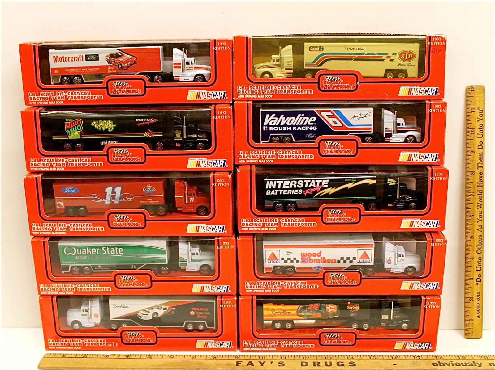 10 Vintage Racing Racing Racing Champions 1993 Diecast Cab Team Transporters 1 87 Scale NIB fd8620
