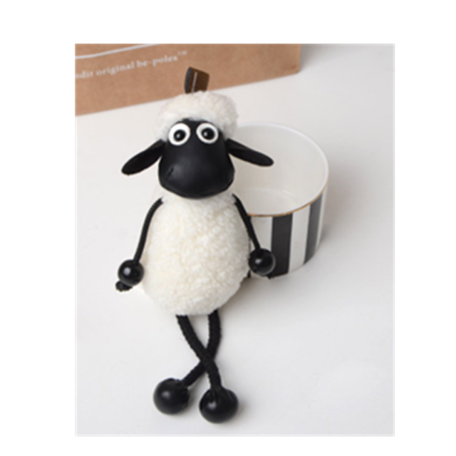 Shaun the sheep 5' Figure Plush Toy Stuffed Soft Dollwhite key chain ring white