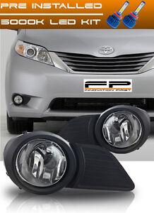 2011-2015 Toyota Sienna Fog Lights Bumper Lamp Smoke Set w//Switch//Harness//Wiring