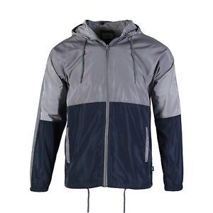 Men-039-s-Hooded-Full-Zip-Lightweight-Windbreaker-Outwear-Sports-Jacket-Grey-Navy