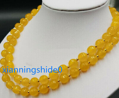 Natural 8mm 10mm Yellow Topaz Gems Faceted Round Bead Necklace 20/'/' AAA+++