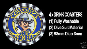 4-x-COWBOYS-2015-PREMIERS-FOOTBALL-RUGBY-LEAGUE-DRINK-COASTERS-Fully-Washable