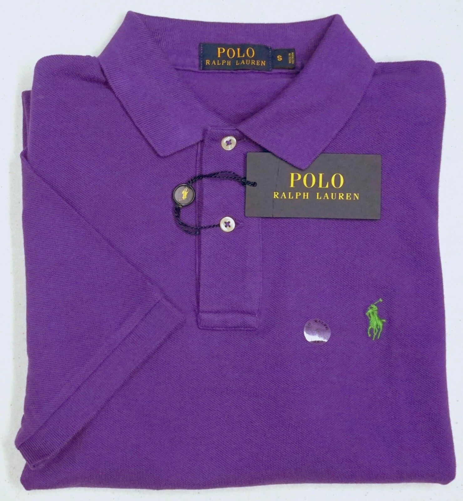 NWT  POLO Ralph Lauren Short Sleeve Mesh Vista Purple Shirt Mens Size S NEW
