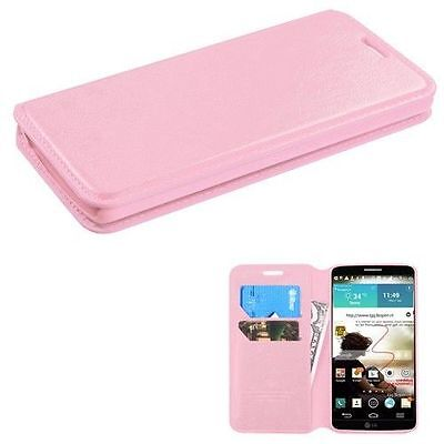 2014 * FOR LG G3 SMARTPHONE LIGHT PINK CARD WALLET LEATHER ACCESSORY COVER CASE