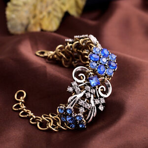 Pulsera-Malva-Dorado-Plateado-Flor-Azul-Vintage-Retro-Original-Estilo-CT5