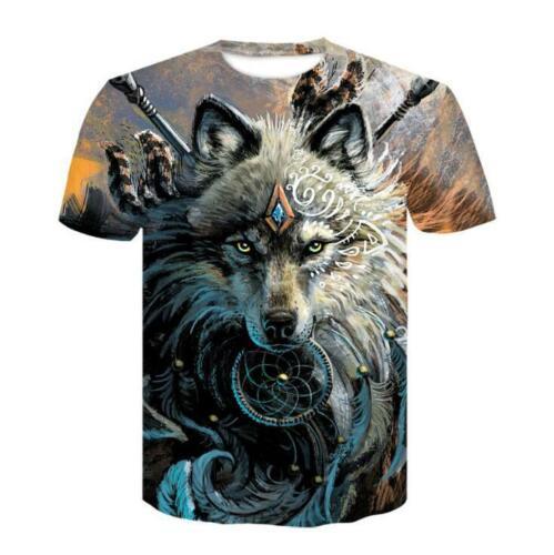 Casual 3D Print Wolf T-Shirts Mens Womens Animal designer Tee shirt Graphic Tops