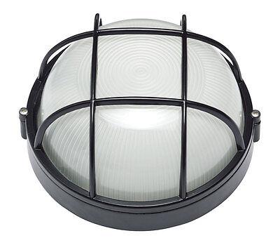 LED Carlton Black Small Round Caged 8W LED Bunker - EXLED6100CB Crompton