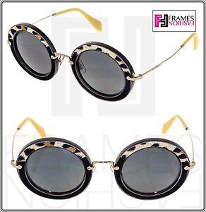 2d82e9f74fad MIU MIU NOIR 08R Black Suede LEATHER Gold Leopard Round Sunglasses ...