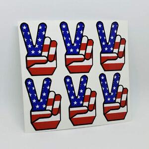 1960/'s PEACE SIGN Vintage Style Vinyl DECAL Sticker USA Flag Hippie Window Truck