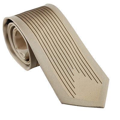 Coachella Ties Unique Beige with Coffee Striped Necktie Microfiber Formal Tie