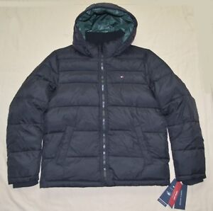 New XL Tommy Hilfiger Men quilted padded puffer winter jacket coat Black X-Large