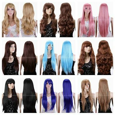 New Women Long Short Wavy Curly Heat Resistant Hair Blonde Cosplay Wig 9 Color
