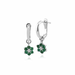Gemondo-9ct-White-Gold-Emerald-and-Diamond-Floral-Hoop-Earrings