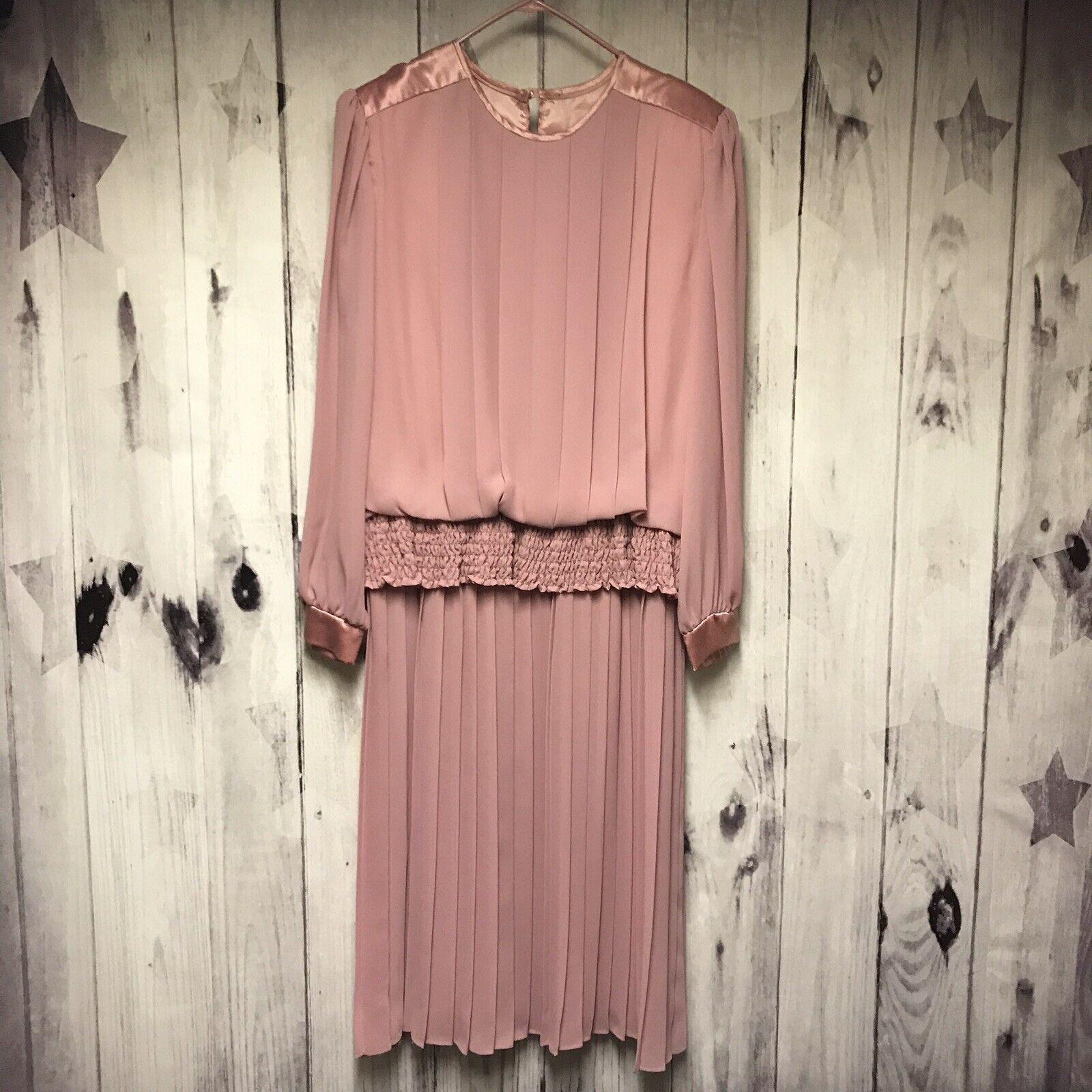 Vintage 70s RICH MISS damen Rosa Größe 18 XL 2XL Long Dress USA Union Made (U3