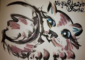 ORIGINAL-katze-MALEREI-PAINTING-zeichnung-cat-abstract-abstrakt-contemporary