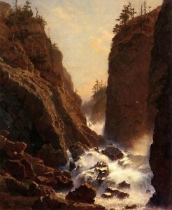 Oil-painting-William-Stanley-Haseltine-Cascade-stream-crossing-the-mountains-art