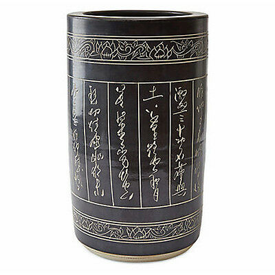 """CHINESE CALLIGRAPHY "" PORCELAIN UMBRELLA STAND - UMBRELLA HOLDER"
