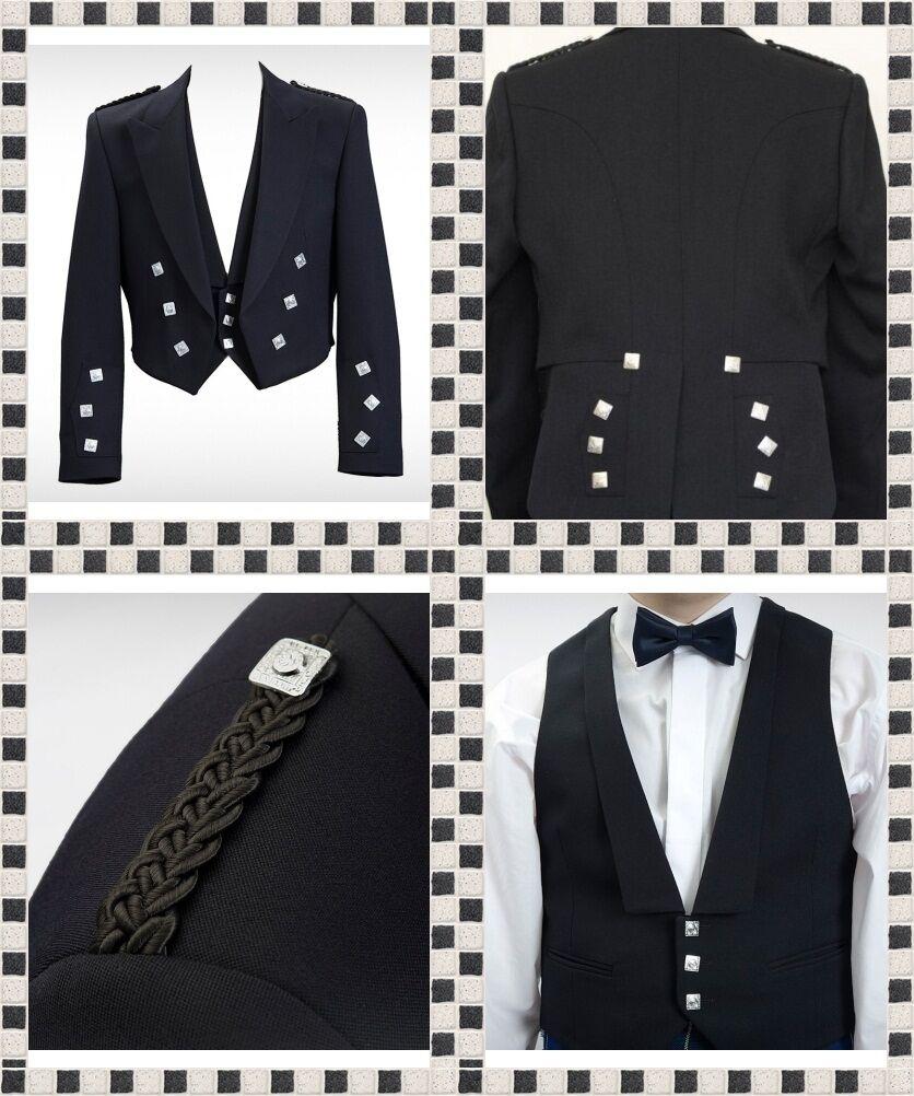 Prince Charlie Blend Wool Jacket & Vest Waistcoat Scottish Prince Charlie Jacket