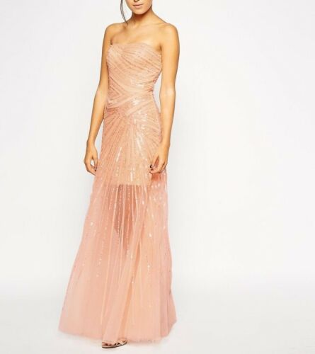 Mesh Forever Hem Maxi Uk12 Embellished £330 Lourdes Sequin Rrp Bnwt Dress Unique gXYxwqZdd