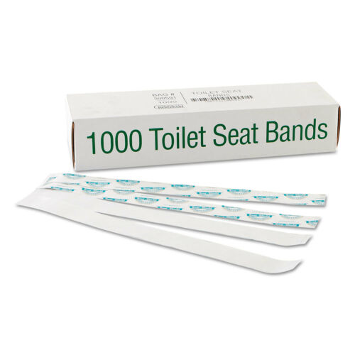 "Bagcraft Sani//Shield Printed Toilet Seat Band Paper Blue//White 16/"" Wide x 1-1//2/"""