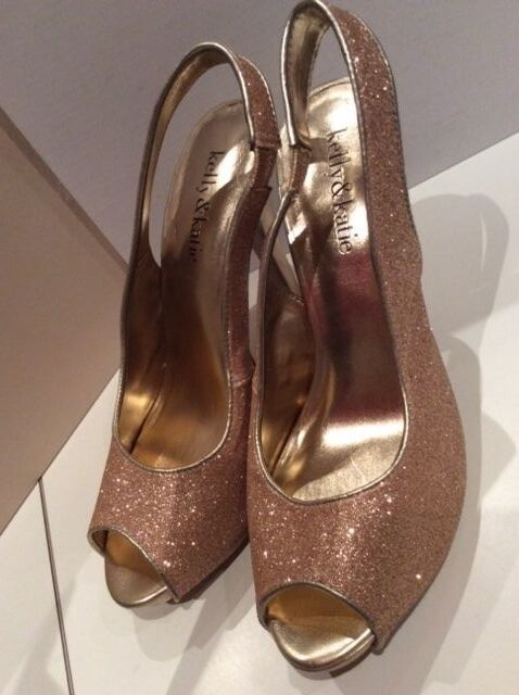 KELLY&KATIE SHINNY PUMPS METALLIC Gold PLATFORM DRESS SANDALS HIGH HEELS PUMPS SHINNY Größe 7 4fc15f