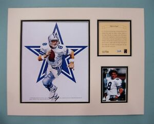 Dallas Cowboys TROY AIKMAN 1994 NFL Football 11x14 MATTED Kelly Russell Print
