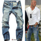 Mens Designer Trousers Stretch Skinny Slim Fit Jeans Pants Ripped Washed Denim