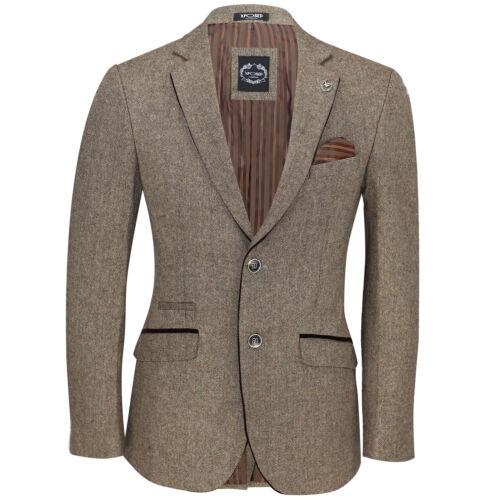 Mens Vintage Herringbone Tweed Check Blazer Smart Formal Designer Tailored Fit