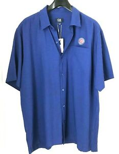 Chicago-Cubs-Mens-XL-Shirt-Cutter-amp-Buck-Button-Up-Short-Sleeve-New-with-Tags