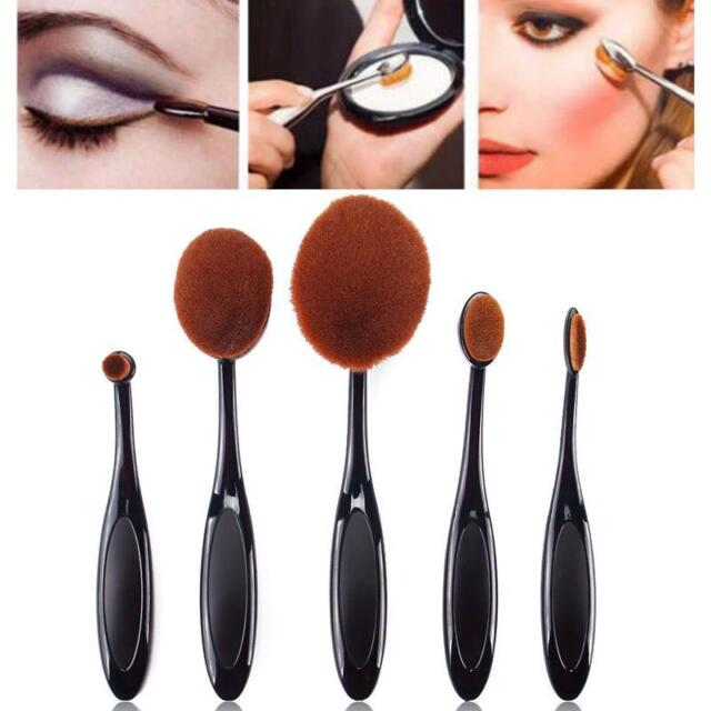 5pcs Black Toothbrush Shaped Foundation Power Makeup Oval Cream Puff Brushes Set